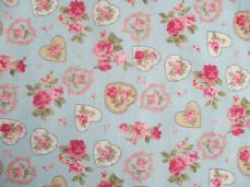 ROSE FLORAL HEARTS 100% COTTON FABRIC SHABBY CHIC VINTAGE RETRO PM PALE BLUE NO3